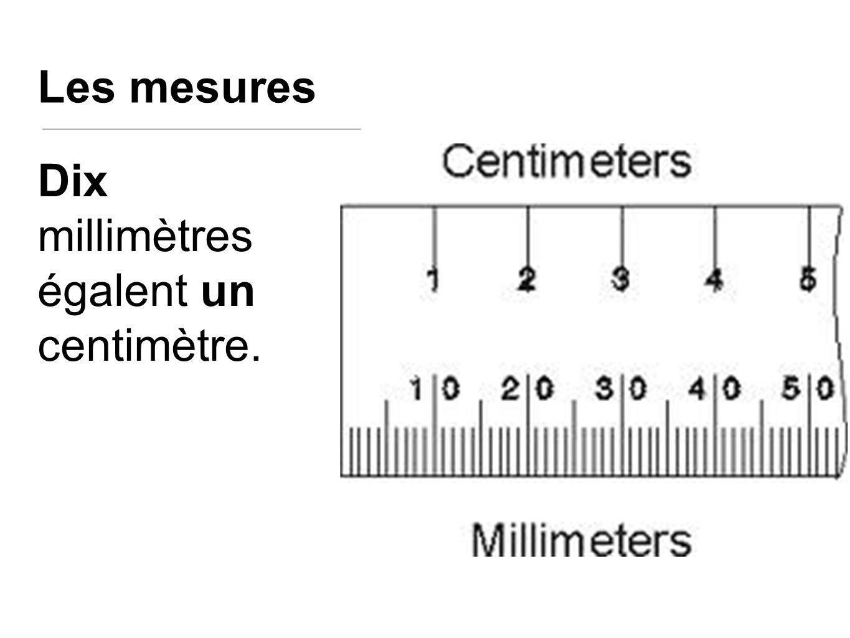 Les mesures Dix millimètres égalent un centimètre.