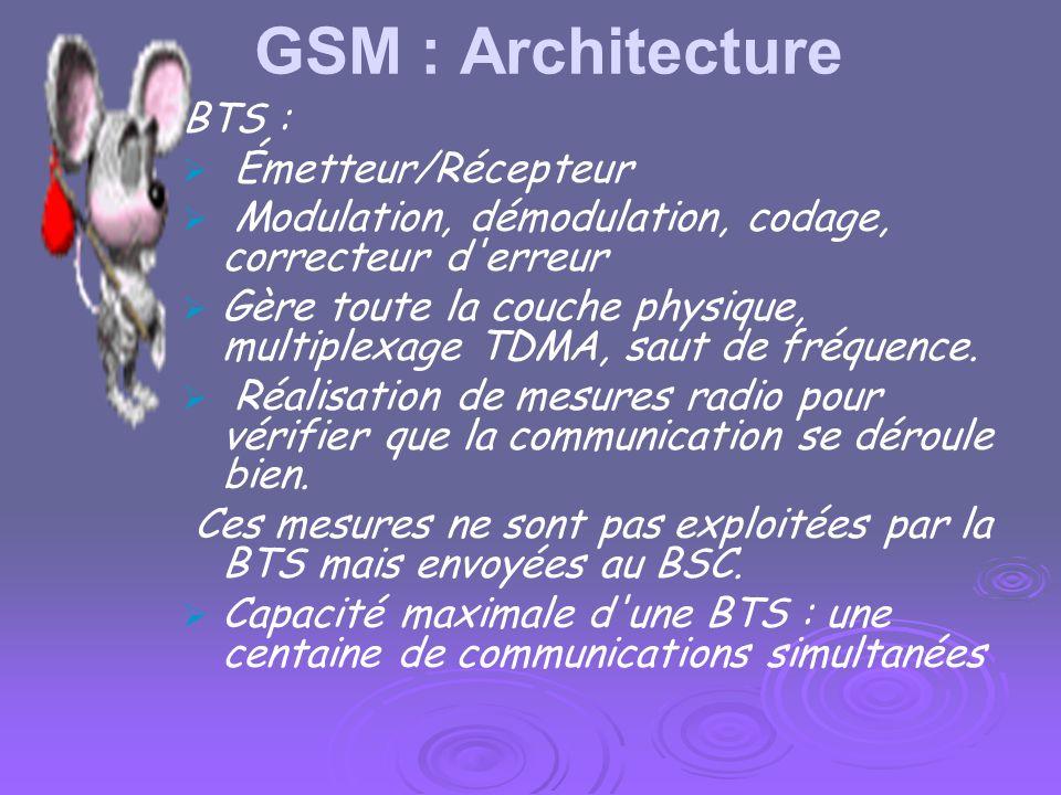 GSM : Architecture BTS : Émetteur/Récepteur