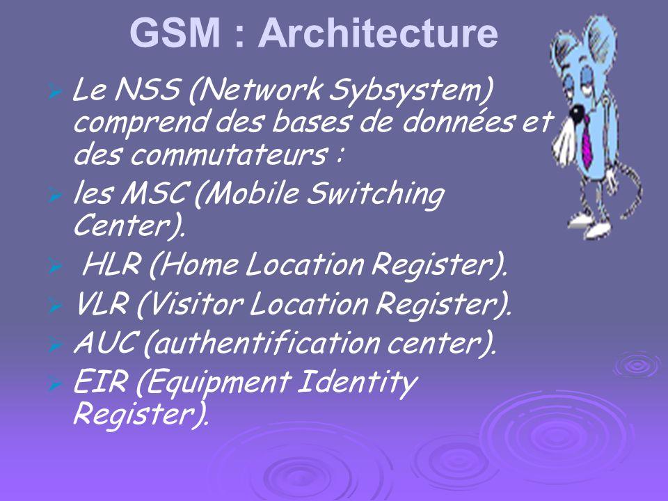 GSM : Architecture Le NSS (Network Sybsystem) comprend des bases de données et des commutateurs : les MSC (Mobile Switching Center).