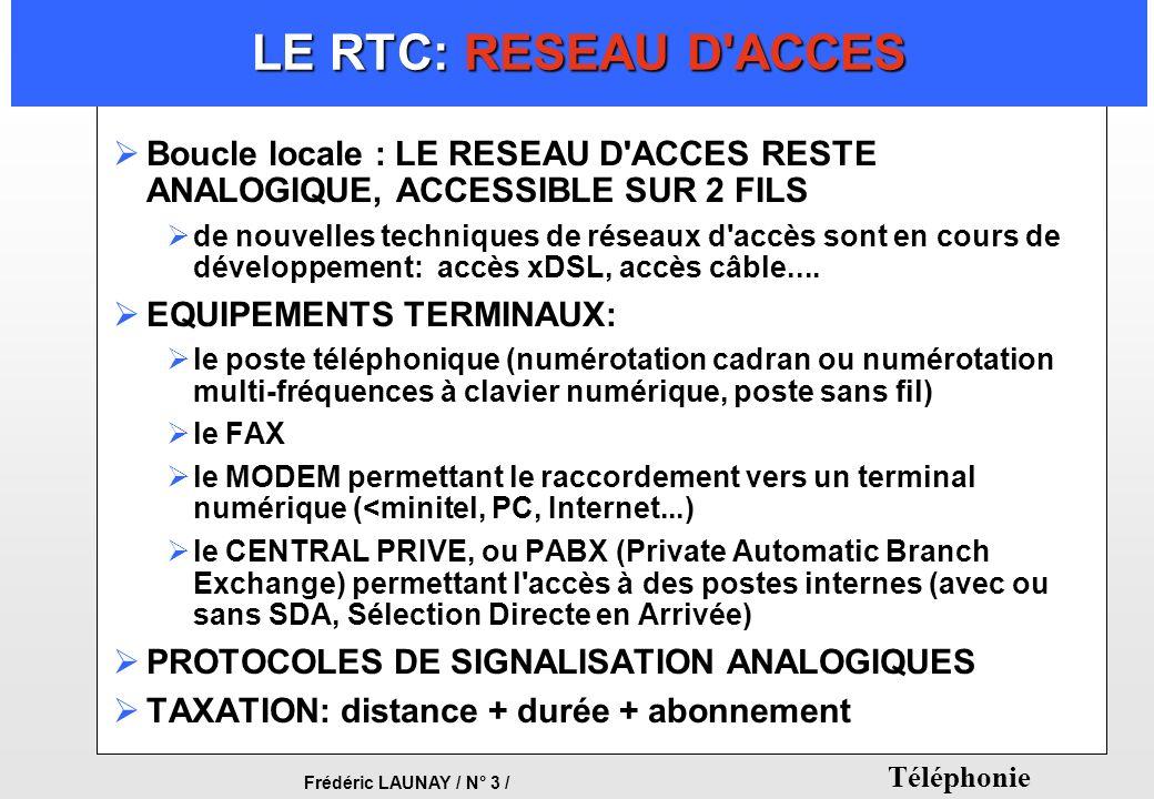 LE RTC: RESEAU D ACCES Boucle locale : LE RESEAU D ACCES RESTE ANALOGIQUE, ACCESSIBLE SUR 2 FILS.