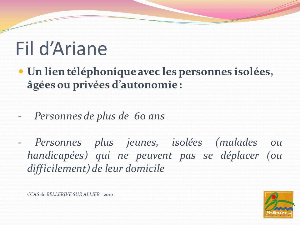 Fil d'ArianeUn lien téléphonique avec les personnes isolées, âgées ou privées d'autonomie : - Personnes de plus de 60 ans.