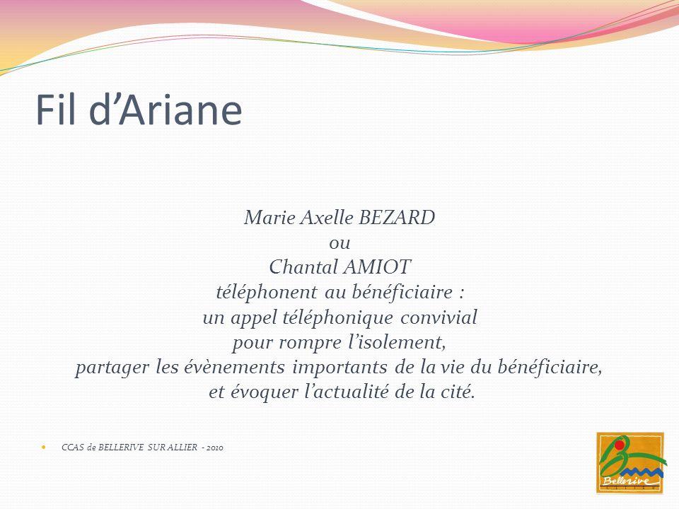 Fil d'Ariane Marie Axelle BEZARD ou Chantal AMIOT