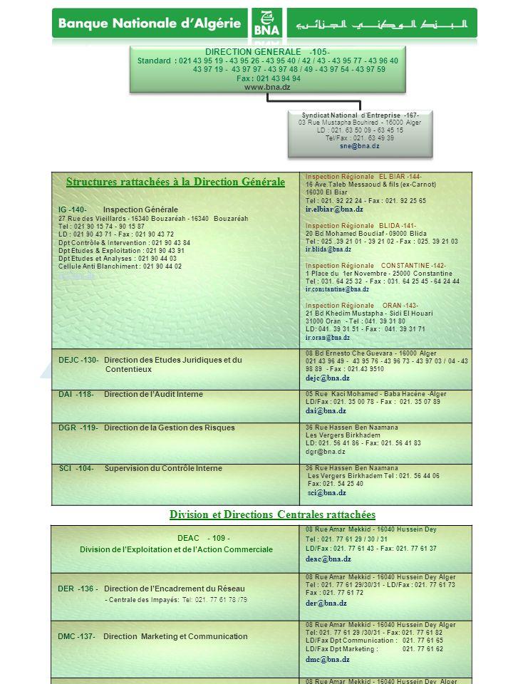 Structures rattachées à la Direction Générale