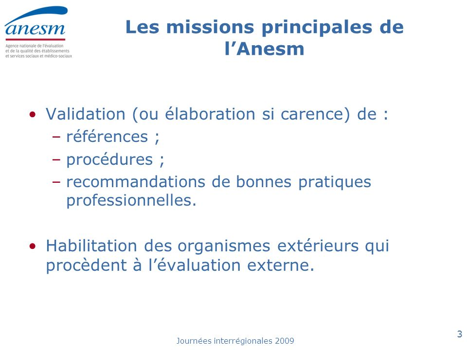 Les missions principales de l'Anesm