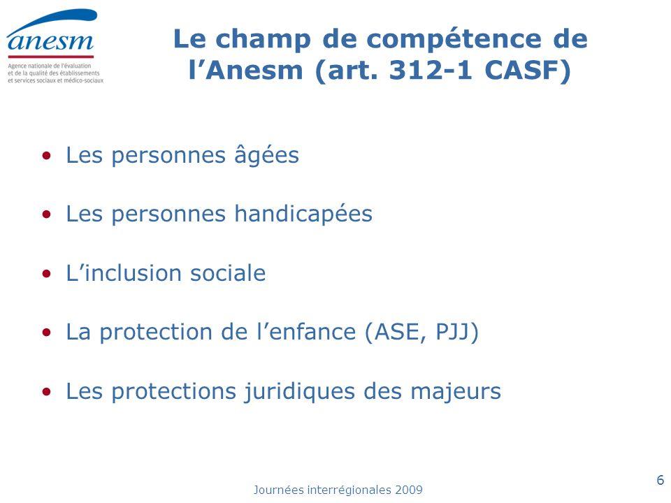 Le champ de compétence de l'Anesm (art. 312-1 CASF)