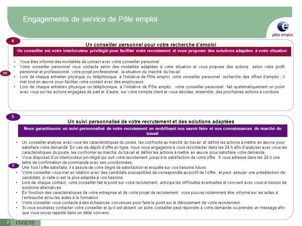 Engagements de service de Pôle emploi
