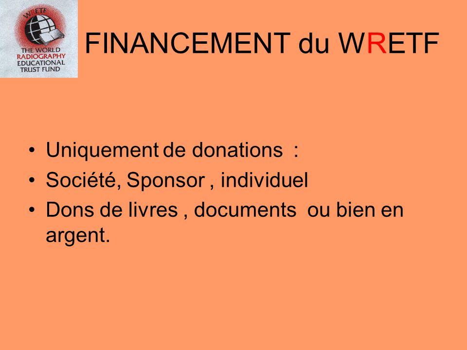 FINANCEMENT du WRETF Uniquement de donations :