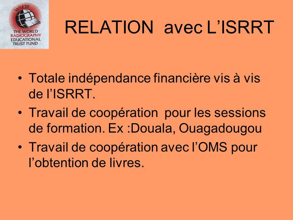 RELATION avec L'ISRRT Totale indépendance financière vis à vis de l'ISRRT.