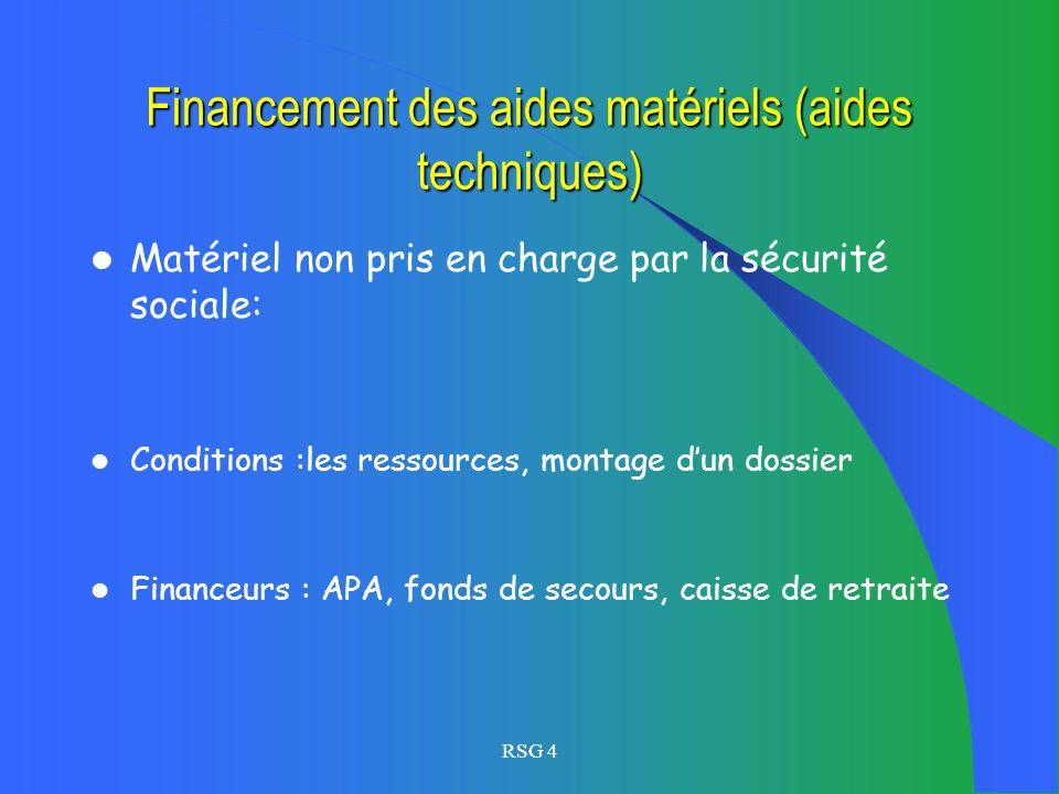 Financement des aides matériels (aides techniques)