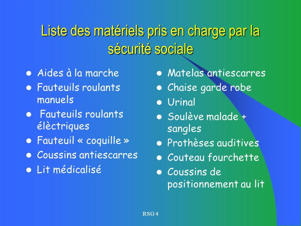 Liste des matériels pris en charge par la sécurité sociale
