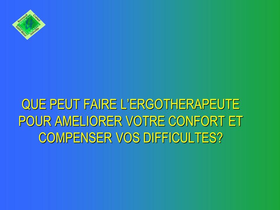 QUE PEUT FAIRE L'ERGOTHERAPEUTE POUR AMELIORER VOTRE CONFORT ET COMPENSER VOS DIFFICULTES
