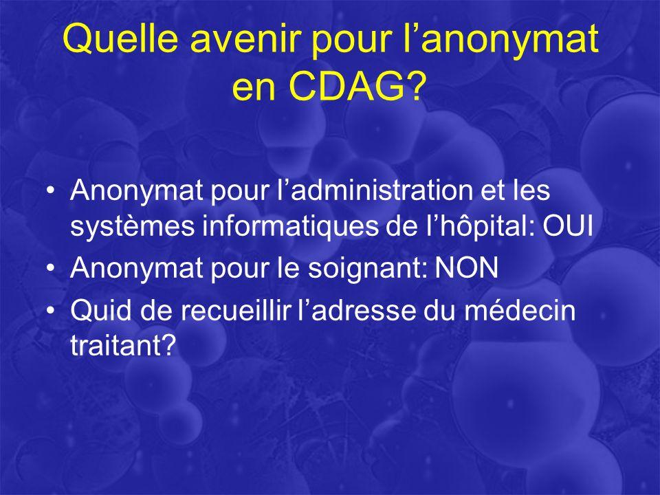 Quelle avenir pour l'anonymat en CDAG
