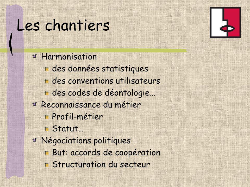 Les chantiers Harmonisation des données statistiques