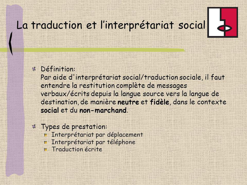 La traduction et l'interprétariat social