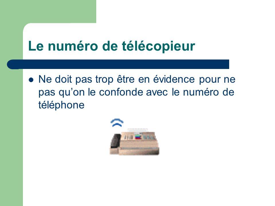 Le numéro de télécopieur