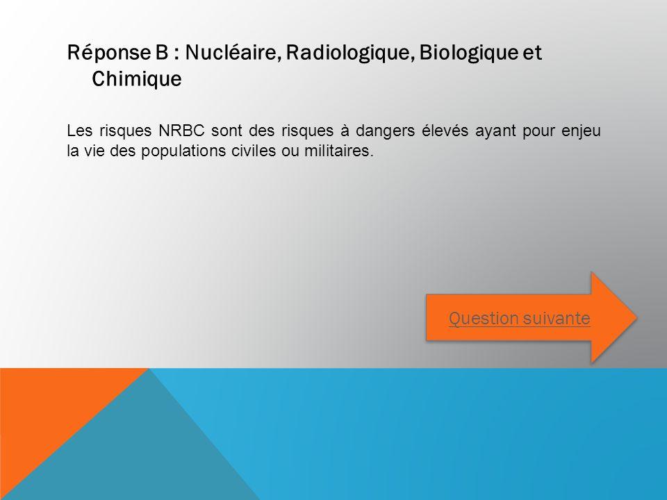 Réponse B : Nucléaire, Radiologique, Biologique et Chimique