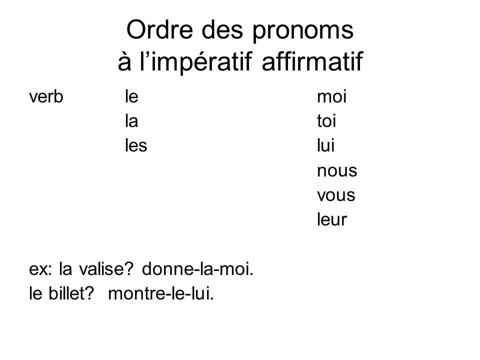 Ordre des pronoms à l'impératif affirmatif