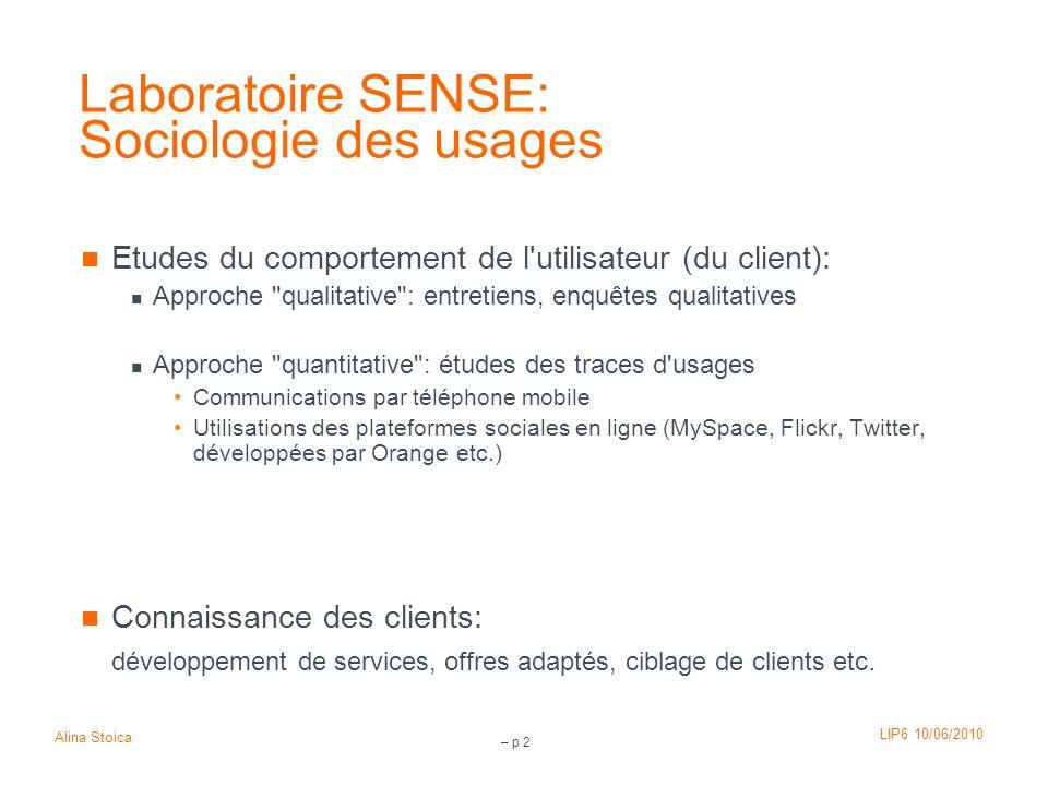 Laboratoire SENSE: Sociologie des usages