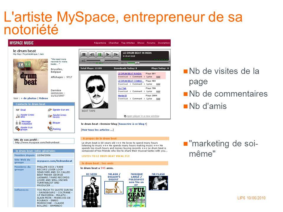 L artiste MySpace, entrepreneur de sa notoriété