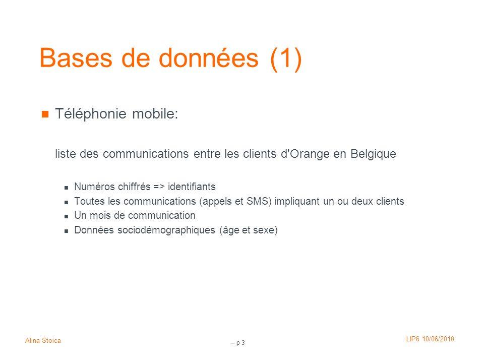 Bases de données (1) Téléphonie mobile: