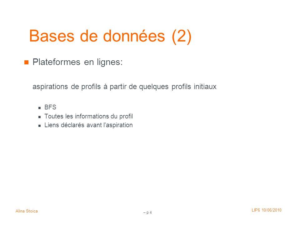 Bases de données (2) Plateformes en lignes: