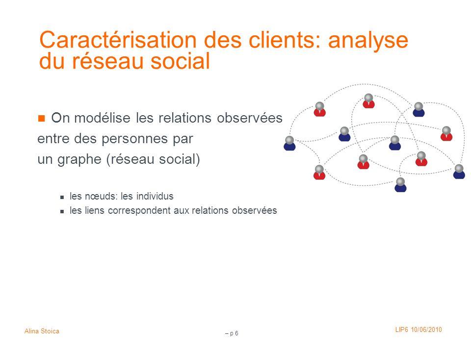 Caractérisation des clients: analyse du réseau social