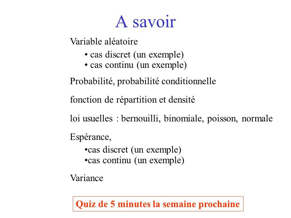 A savoir Variable aléatoire cas discret (un exemple)