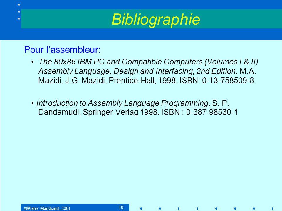 Bibliographie Pour l'assembleur: