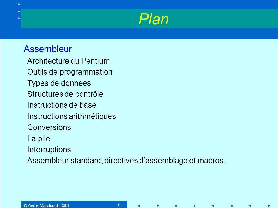 Plan Assembleur Architecture du Pentium Outils de programmation