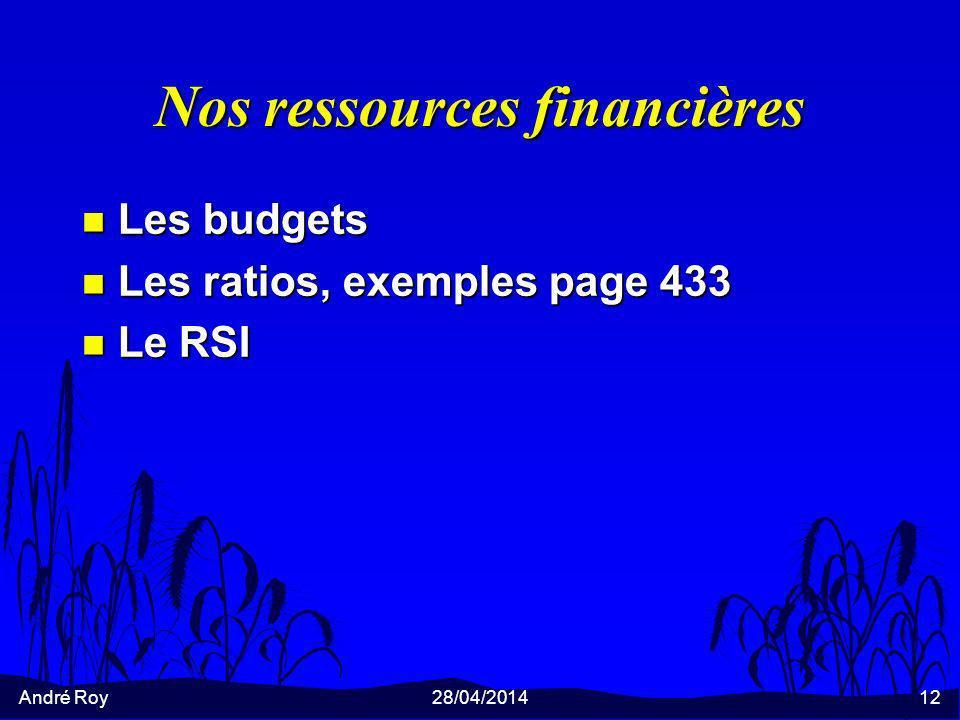 Nos ressources financières