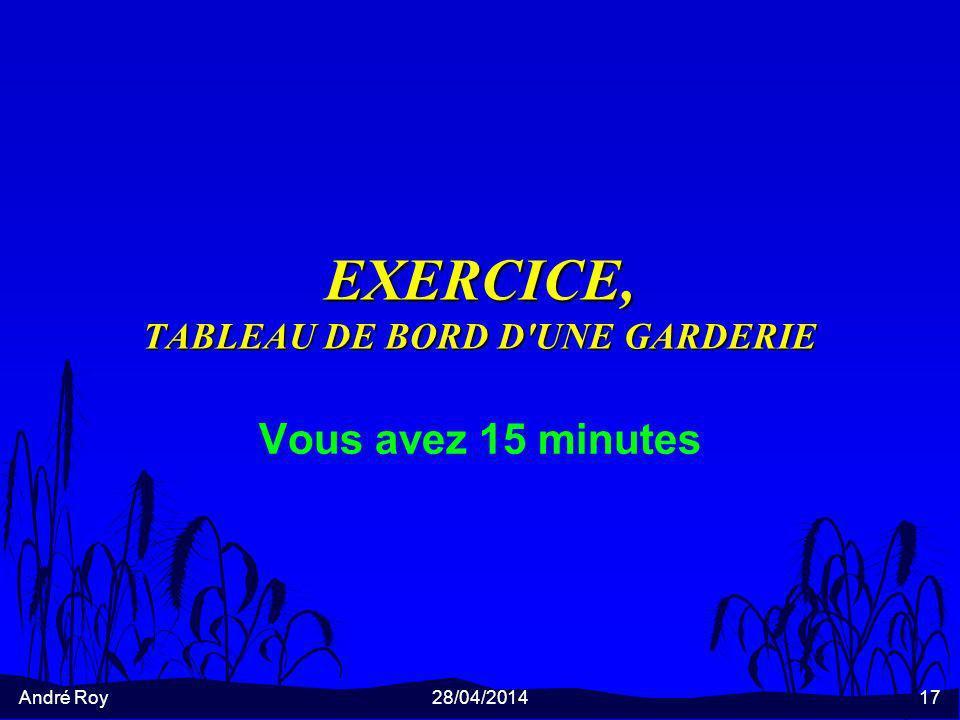 EXERCICE, TABLEAU DE BORD D UNE GARDERIE