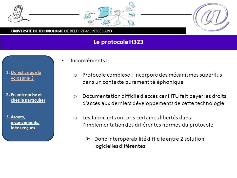 Le protocole H323 Inconvénients :