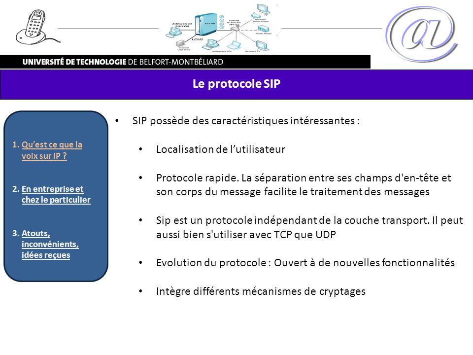 Le protocole SIP SIP possède des caractéristiques intéressantes :