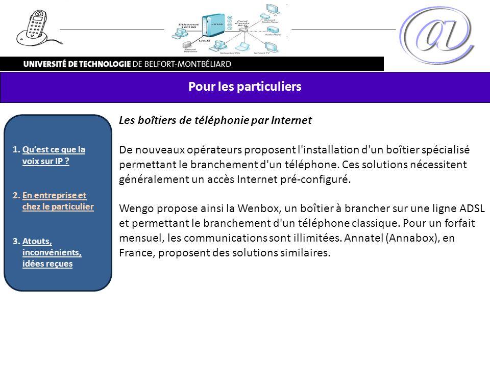 Pour les particuliers Les boîtiers de téléphonie par Internet