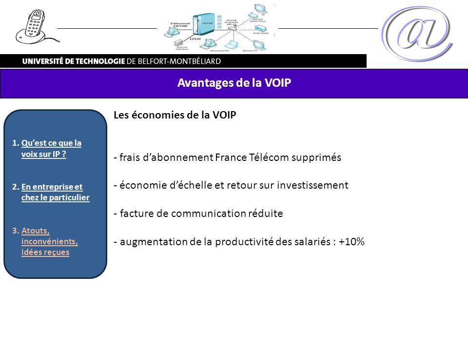 Avantages de la VOIP Les économies de la VOIP