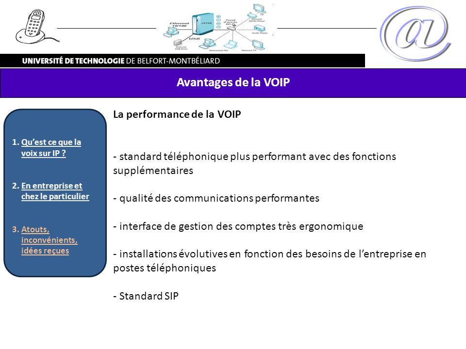 Avantages de la VOIP La performance de la VOIP