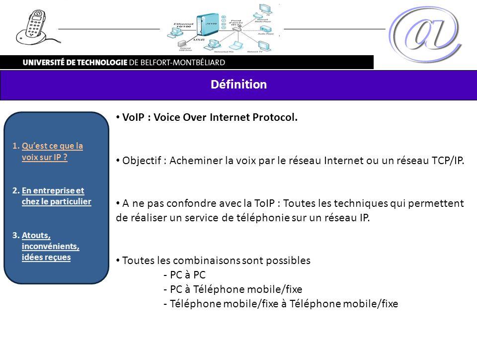 Définition VoIP : Voice Over Internet Protocol.