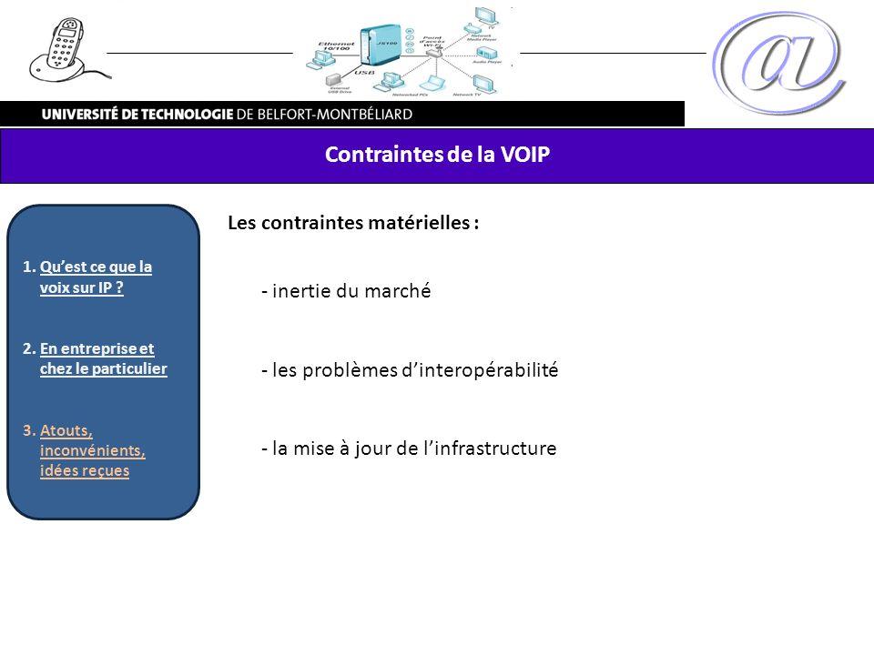 Contraintes de la VOIP Les contraintes matérielles : inertie du marché