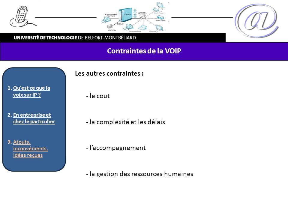 Contraintes de la VOIP Les autres contraintes : le cout