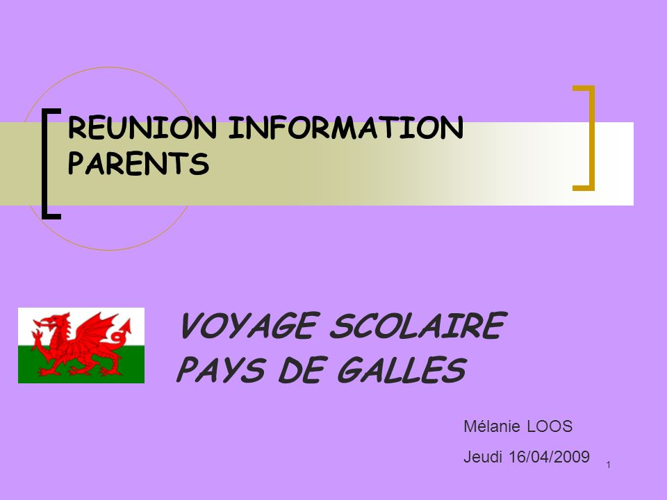REUNION INFORMATION PARENTS