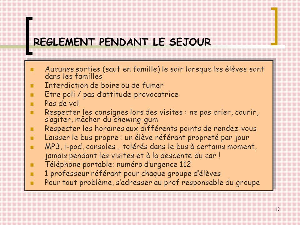 REGLEMENT PENDANT LE SEJOUR