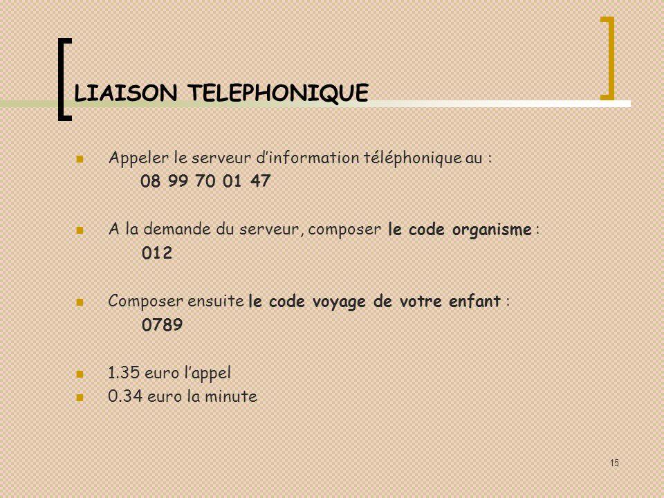 LIAISON TELEPHONIQUE Appeler le serveur d'information téléphonique au : 08 99 70 01 47. A la demande du serveur, composer le code organisme :