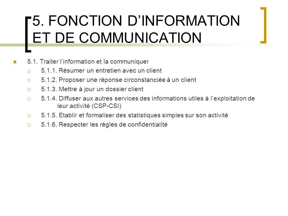 5. FONCTION D'INFORMATION ET DE COMMUNICATION