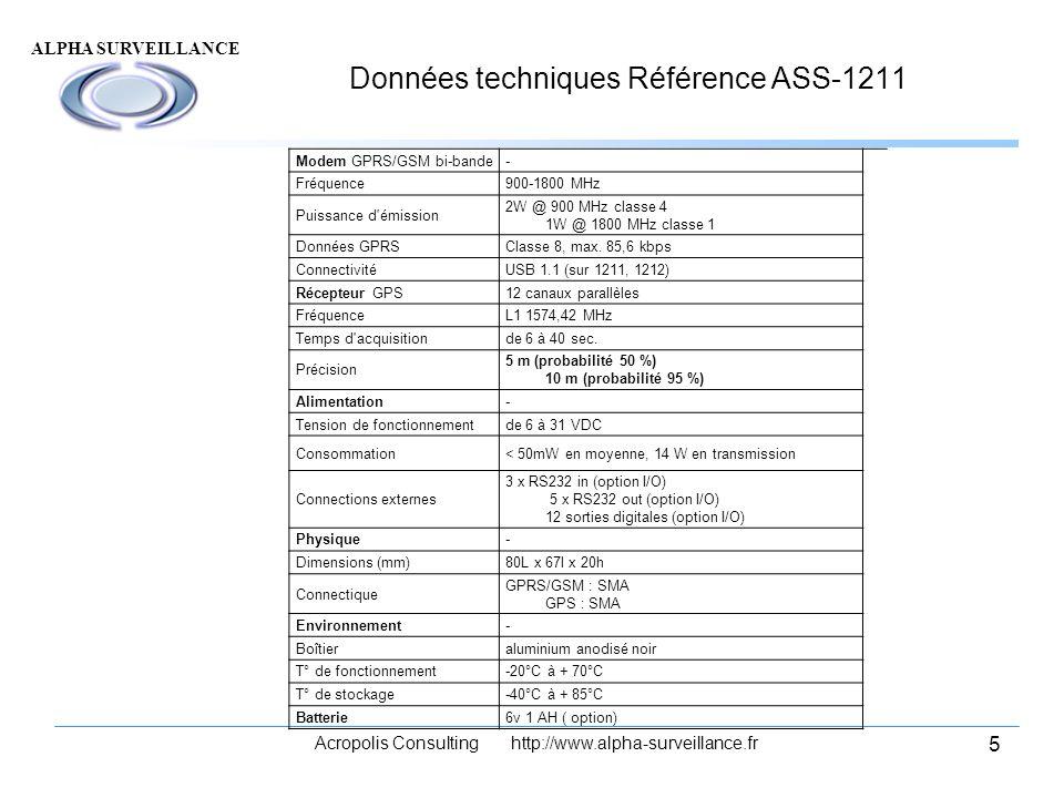 Données techniques Référence ASS-1211