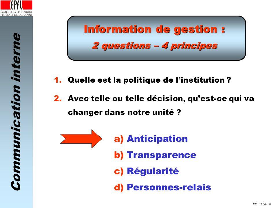 Information de gestion :