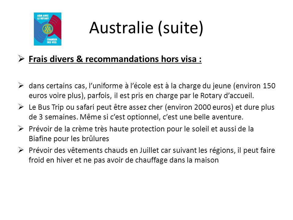 Australie (suite) Frais divers & recommandations hors visa :