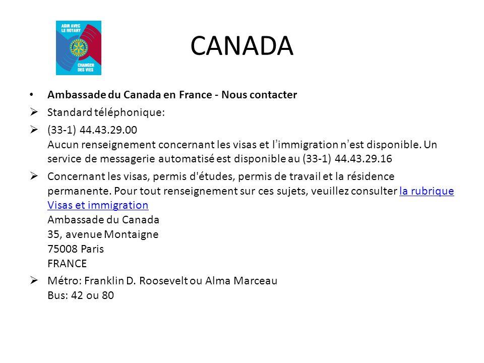 CANADA Ambassade du Canada en France - Nous contacter