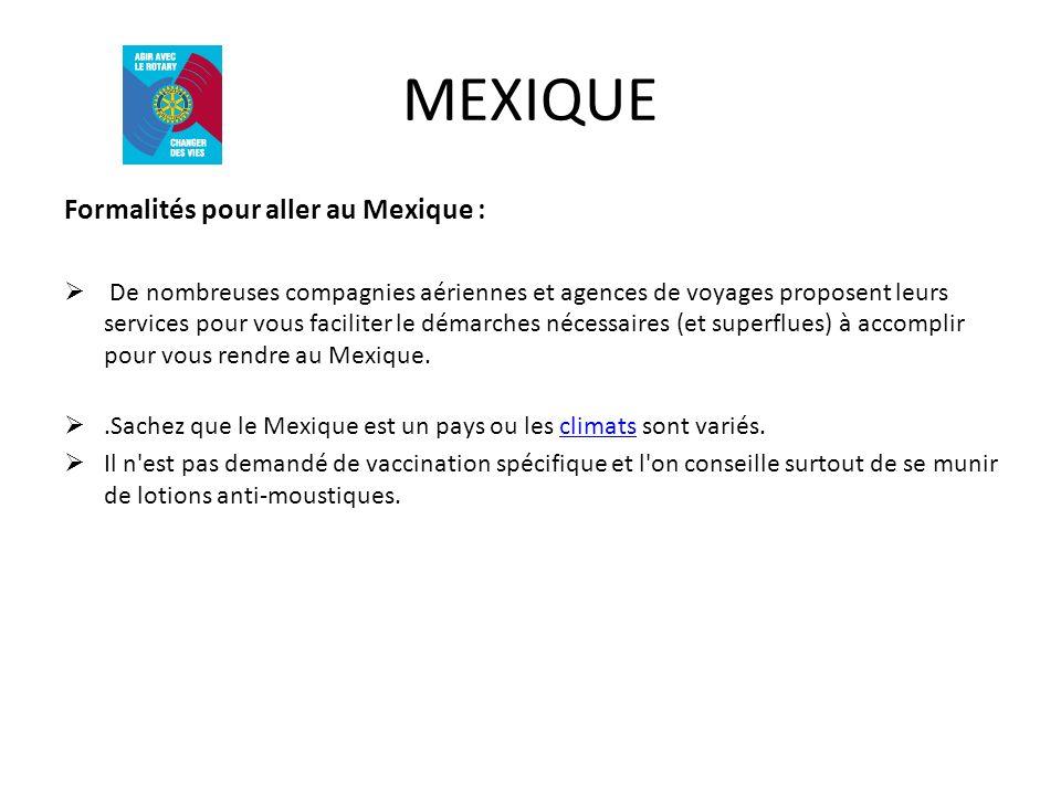 MEXIQUE Formalités pour aller au Mexique :