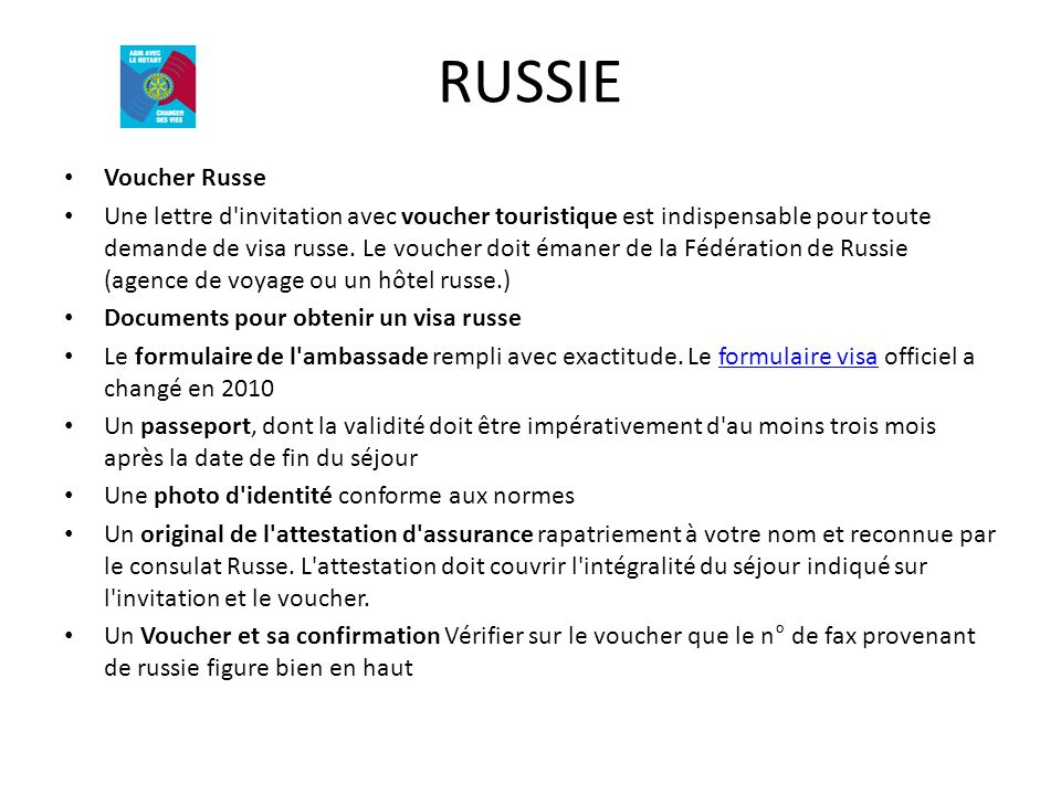 RUSSIE Voucher Russe.