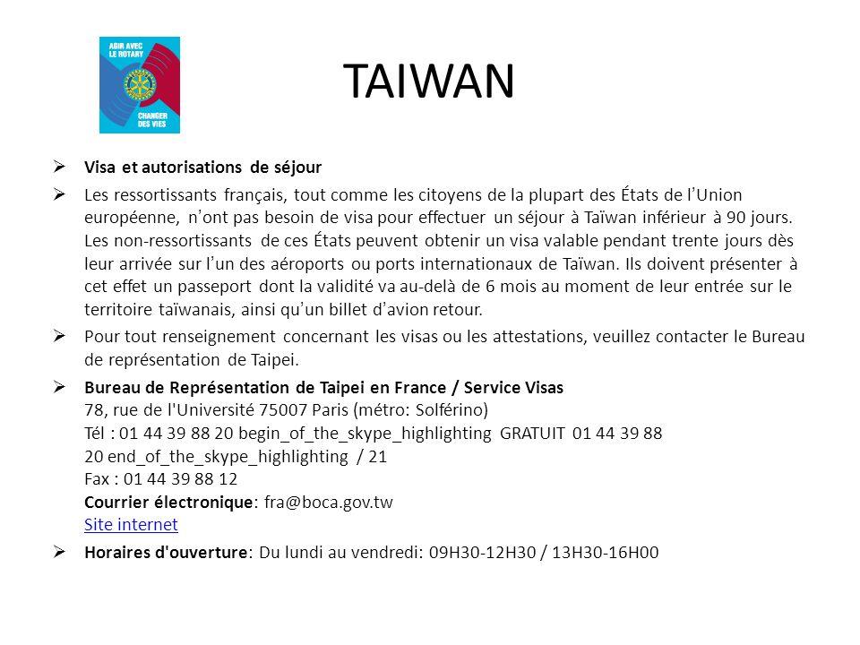 TAIWAN Visa et autorisations de séjour